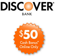 Discover Bank Cashback Checking $50 Bonus