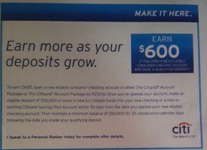 Citibank Bonuses: $400, $600 for Checking & Savings